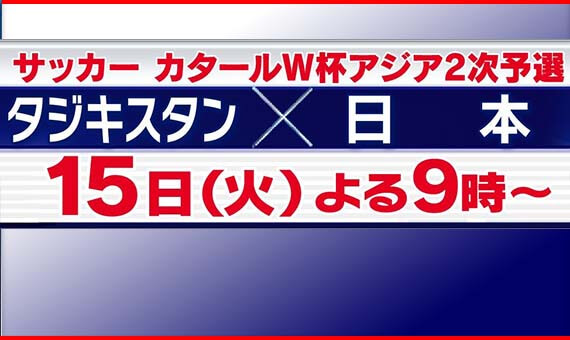 サッカーカタールW杯予選 タジキスタン×日本