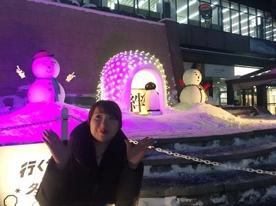 JR盛岡駅に雪だるま
